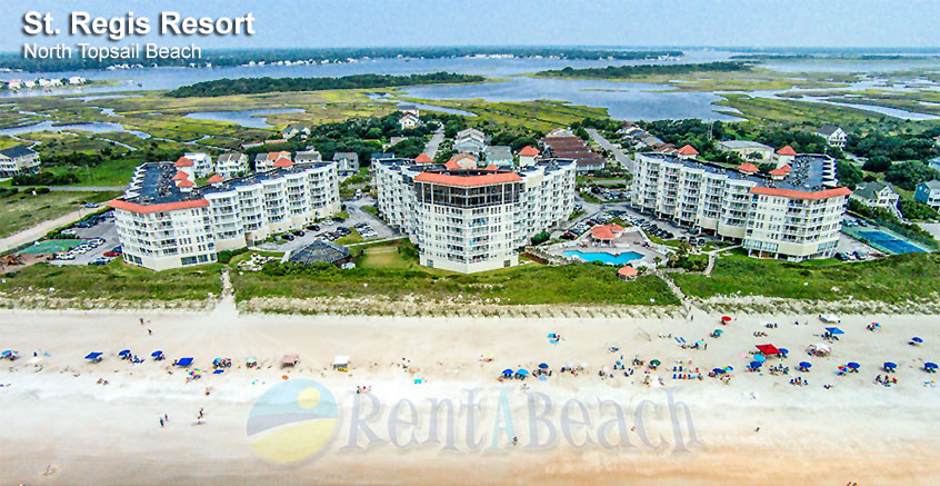 Aerial view of St. Regis Resort on North Topsail Beach, Topsail Island, North Carolina (NC)