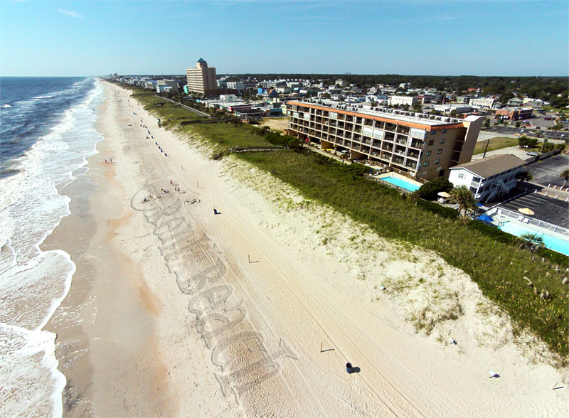 Aerial view of Carolina Beach with Kure Beach in the distance