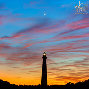 Scenic Cape Hatteras Lighthouse with moon