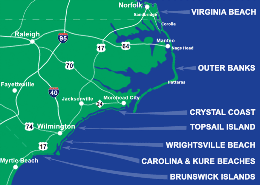North Carolina Beach Vacation Al Destinations Map