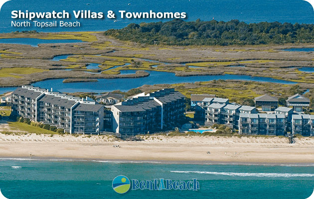Aerial view of Shipwatch condos in North Topsail Beach