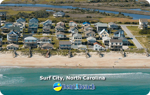 Houses in Surf City, Topsail Island, North Carolina