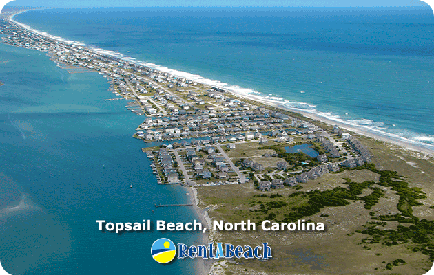 Aerial view of Topsail Beach at the south end of Topsail Island