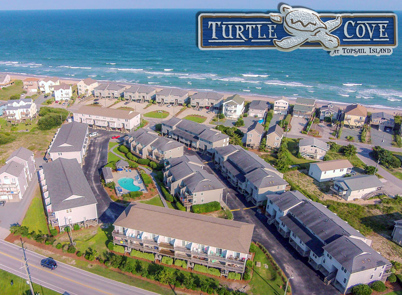 Aerial View of Turtle Cove Townhome Community in Surf City, Topsail Island, NC