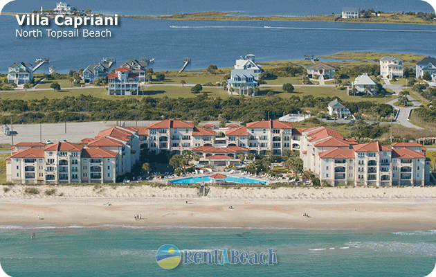 Aerial view of Villa Capriani oceanfront resort in North Topsail Beach on Topsail Island, NC